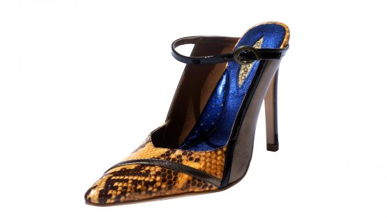 Bronze snake nappa leather, 4 inch heel mule style shoes