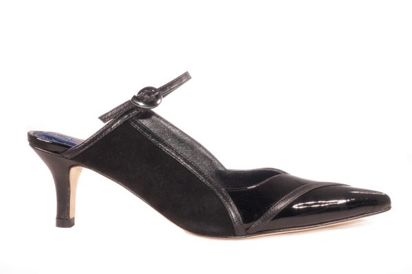 Black patent leather and kid suede, 2 inch heel mule style shoes