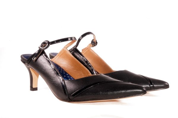 Black nappa leather, 2 inch heel mule style shoes