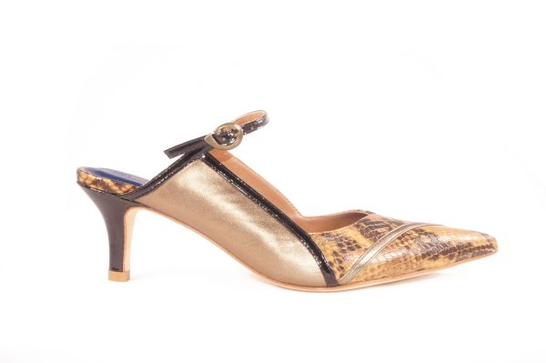 Bronze snake nappa leather, 2 inch heel mule style shoes