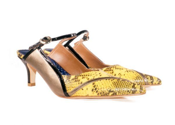 Yellow and Bronze nappa leather, 2 inch heel mule style shoes