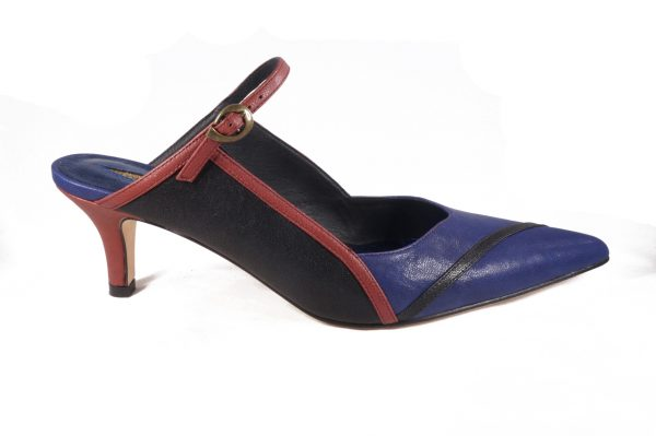 Blue Red and Black nappa leather, 2 inch heel mule style shoes