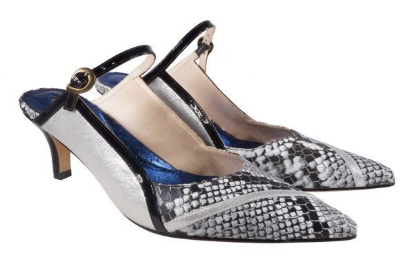Silver snake nappa leather, 2 inch heel mule style shoes