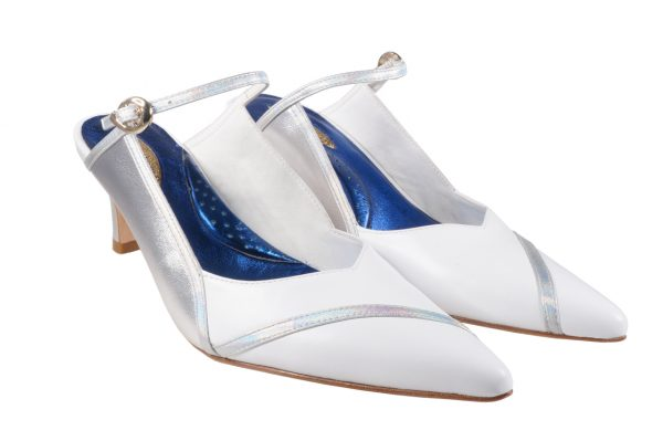 White and silver nappa leather, 2 inch heel mule style shoes