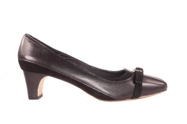 Black nappa leather, 1.5 inch heel, square toe pump, buckle strap mixed media low heel