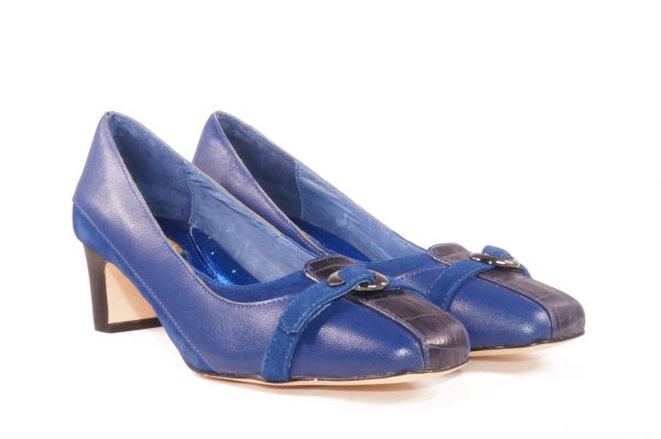 Blue nappa leather, 1.5 inch heel, square toe pump, buckle strap mixed media low heel