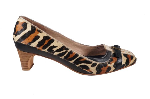 Leopard pony hair, 1.5 inch heel, square toe pump, buckle strap mixed media low heel