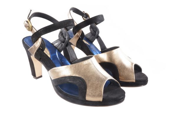 Black suede bronze nappa leather, platform sandal 2.5 inch heel, two-tone retro platform shoes