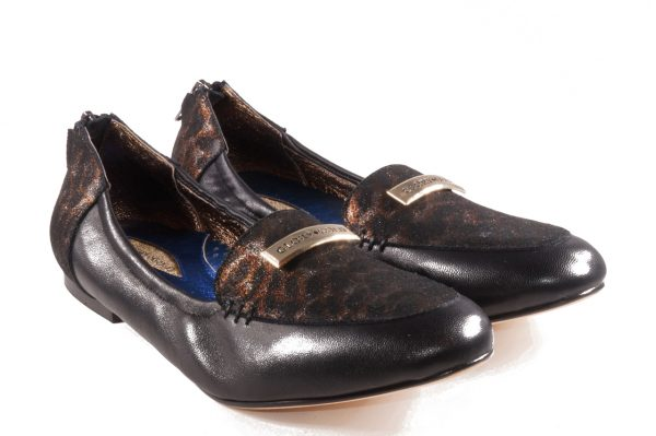 Black and leopard nappa leather, round toe loafer flat, with Glory Gold Logo emblem