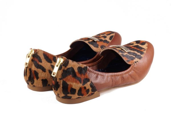 Cognac and leopard nappa leather, round toe loafer flat, with Glory Gold Logo emblem