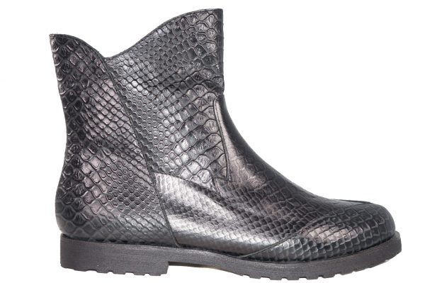 Black croc embossed boot, ankle length, inside zipper, flat lug sole
