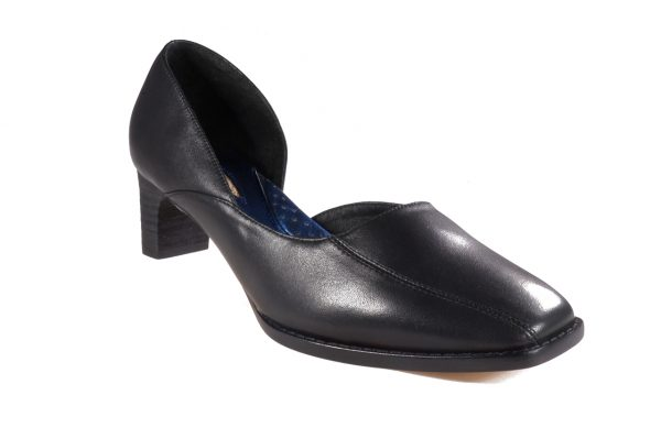 Black nappa leather, asymmetrical design, 1.5 inch heel, square toe shoes