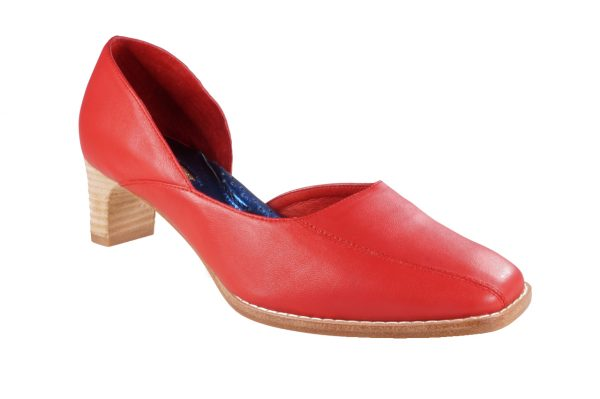 Red nappa leather, asymmetrical design, 1.5 inch heel, square toe shoes