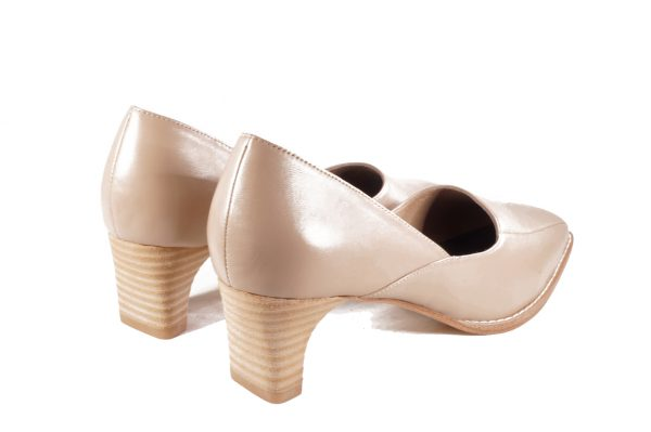 Taupe nappa leather, asymmetrical design, 1.5 inch heel, square toe shoes